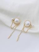 流蘇耳環 白色流蘇耳環2021年新款潮高級感珍珠氣質長款耳飾女學生超仙簡約 夢藝家