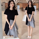 漂亮小媽咪 韓國洋裝 【D2854】 不規則 蛋糕 短袖 傘擺 孕婦裝 長版衣 孕婦洋裝 實品拍攝