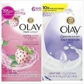 美國原裝進口OLAY美容香皂-草莓沁涼/10倍保濕(113g*6/組)*4
