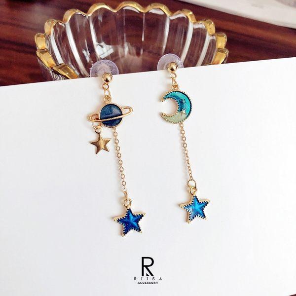 月夜星空時尚不對稱設計耳環