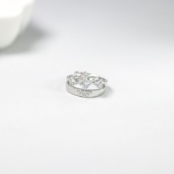 s925純銀女王情侶戒指一對男女對戒日韓鑲鉆學生