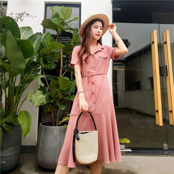 VK旗艦店 韓系時尚簡約襯衫領單排扣短袖洋裝