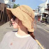 可折疊草帽女夏小清新沙灘防曬遮臉出游百搭漁夫帽遮陽帽子潮 完美情人精品館