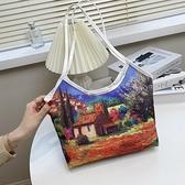油畫包 帆布包包女2021新款潮單肩學生書包大容量背包手提買菜托特油畫包 小衣裡