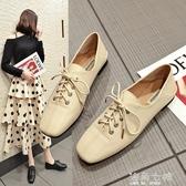 原宿軟妹小皮鞋復古英倫風牛津鞋女學院風平底方頭繫帶單鞋女鞋子 海角七號