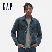 Gap男裝時尚水洗後背刺繡牛仔衣501348-復古藍色