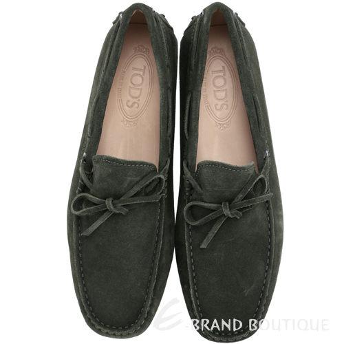 TOD'S GOMMINO 橄欖綠色麂皮綁帶豆豆休閒樂褔鞋(男) 1240500-38