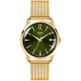 【台南 時代鐘錶 Henry London】英倫復古風潮 經典品味時尚腕錶 HL39-M-0102 墨綠/金 39mm
