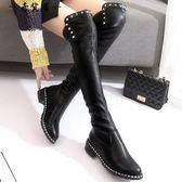 過膝靴子女長靴秋冬季2018新款高筒靴平底粗跟彈力靴瘦瘦長筒靴女