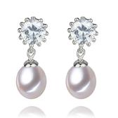 珍珠耳環 925純銀-水滴型8-9mm向日葵鑲鑽生日情人節禮物女飾品73lw23【時尚巴黎】