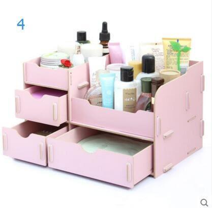 藍格子木質大號抽屜式桌面收納盒 化妝品收納盒 收納架桌面置物架