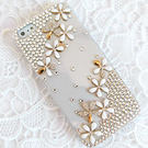 iPhone5S 水鑽小雛菊 清新貼鑽手機殼