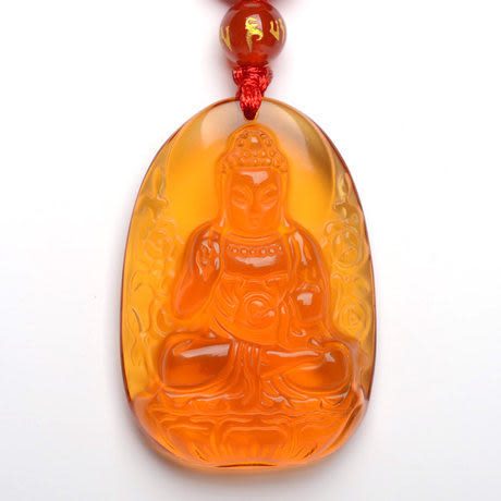 開光黃水晶吊墜阿彌陀佛