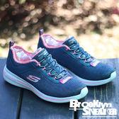 SKECHERS BURST 記憶墊 藍 粉紅 銀蔥 免綁鞋帶 慢跑 女 (布魯克林) 2017/8月 12659NVPK