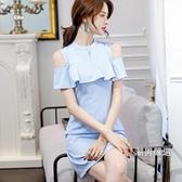 洋裝2018春夏正韓新品時尚大尺碼素面休閒女裝修身百搭連身裙S-2XL
