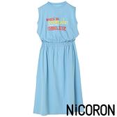 「Hot item」彩色標語打印棉質收腰無袖洋裝 - NiCORON