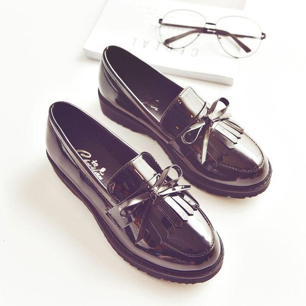 韓版流蘇小皮鞋女牛津女鞋平底樂福鞋蝴蝶結單鞋漆皮復古低跟女鞋 都市韓衣