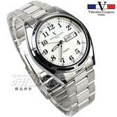 valentino coupeau 范倫鐵諾 都會風格 日期 星期 顯示窗 不鏽鋼 防水手錶 男錶 銀色 石英錶 V62188S字