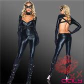 情趣睡衣專賣 性感睡衣 情趣商品 角色扮演 虐戀精品CICILY-蝙蝠女郎 塗膠仿皮性感彈力連體緊身衣