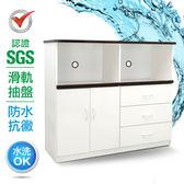 IHouse-SGS 防潮抗蟲蛀緩衝塑鋼二門三抽二拖置物電器櫃白