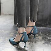 新款包頭高跟鞋尖頭一字扣帶細跟涼鞋女中跟中空女鞋貓跟單鞋    韓小姐的衣櫥
