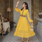 長洋裝 度假裙西北沙漠旅游繡花修身雪紡中長裙連帽長袖高腰波西米亞連身裙NE440依佳衣
