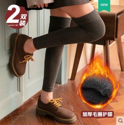 2雙 過膝襪子女中筒襪秋冬季加厚毛圈保暖小腿護膝襪套防寒加長護腿膝