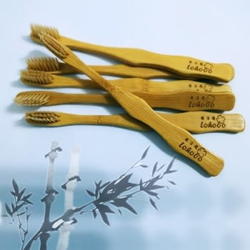 Lohogo 環保無包裝天然可分解竹製兒童牙刷/抗菌牙刷/超軟毛牙刷/小頭牙刷/牙刷組(促)_樂馨生活館