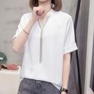 襯衣上衣寬鬆中大尺碼XL-4XL寬鬆V領短袖雪紡衫襯衫5F026-2255.胖胖唯依