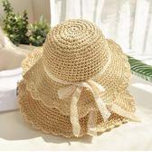 風蕾絲蝴蝶結波兩邊草帽 沙灘帽女夏天