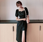 洋裝連身裙S-XL泡泡袖方領連衣裙韓版收腰顯瘦長裙氣質小黑裙NA02D.3779一號公館
