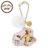 〔小禮堂〕Hello Kitty x Steiff 皮質造型吊飾《粉.泰迪熊.泰迪kitty.側走姿.毛球》 4901610-17732