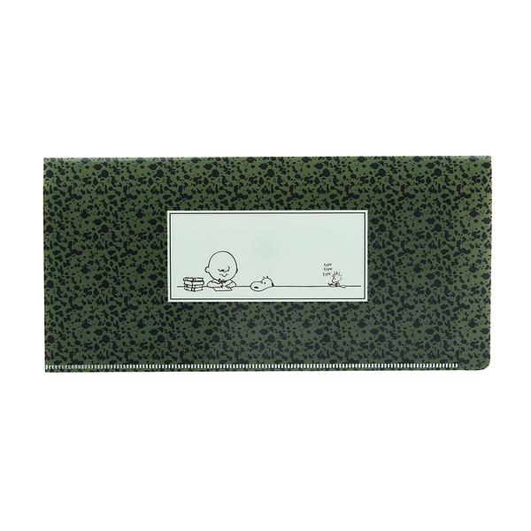 Marimo PP雙袋式折疊票券收納夾 SNOOPY 潑漆 綠 FT05711
