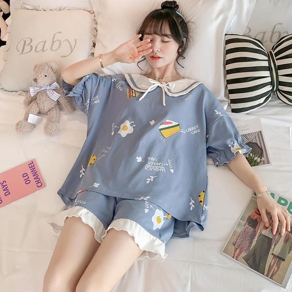 睡衣女夏季純棉短袖全棉薄款兩件套