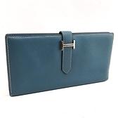 【奢華時尚】HERMES O刻印-藍色牛皮銀色H扣5卡對折長夾(八八成新)#24686
