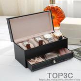 歐式碳纖皮革高檔手錶盒子抽屜式佛珠手鏈收納盒手錶展示首飾盒「Top3c」
