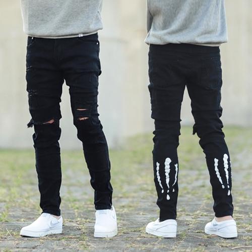 牛仔褲 褲管拉鍊爪痕圖騰割破彈性窄版牛仔褲【NB0396J】