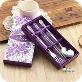 餐具組合學生可愛創意禮品不銹鋼筷子盒叉子筷子勺子套裝便攜式餐具三件套(中秋烤肉鉅惠)