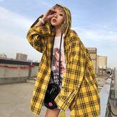早秋慵懶上衣格子襯衫女韓范長袖2018春裝新款寬鬆襯衣外套