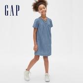 Gap女童柔和褶飾開領牛仔洋裝578413-淺色水洗