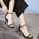 2019夏季新款韓版百搭高跟鞋女中跟細跟黑色工作鞋金屬扣露趾涼鞋