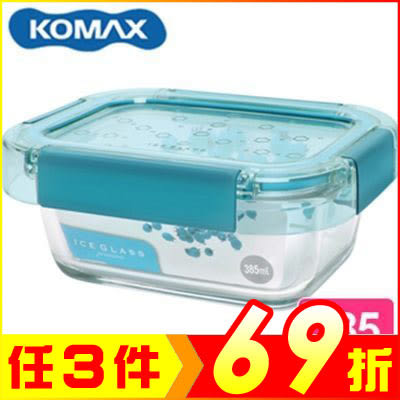 韓國 KOMAX 冰鑽長形強化玻璃保鮮盒 綠 385ml 60048【AE02273】99愛買生活百貨