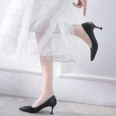 2021新款網紅法式少女高跟鞋女單鞋細跟尖頭貓跟鞋黑色工作鞋 快速出貨