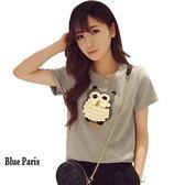 藍色巴黎 ★ 圓領立體刺繡猫頭鹰寬鬆短袖上衣  T恤 大學T《3色》【28693】