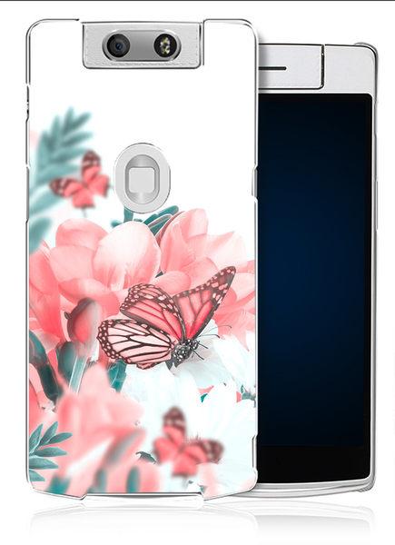 ✿ 3C膜露露 ✿【粉彩蝴蝶*水晶硬殼】OPPO N3手機殼 手機套 保護套 保護殼