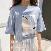 短袖T恤-純棉幾何印花圓領女上衣2色73xn29【巴黎精品】