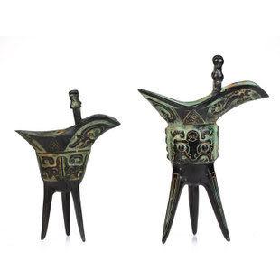 青銅三角杯擺件招財鎮宅家居工藝品擺設