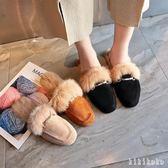 中大尺碼穆勒鞋 秋季新款平底兔毛毛毛鞋女冬拖鞋女鞋韓版時尚外穿 DR925【KIKIKOKO】