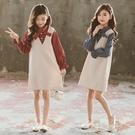 女童洋裝 大碼連身裙2021春秋新款韓版中大兒童假兩件時髦洋氣長袖公主裙潮 百分百