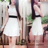 細肩帶洋裝/夏裝新款女韓版時尚氣質性感露肩吊帶黑白撞色收腰修身連身裙「歐洲站」